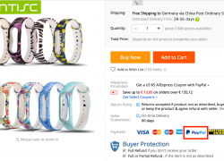 AliExpress bietet jetzt Paypal als Zahlungsmethode an